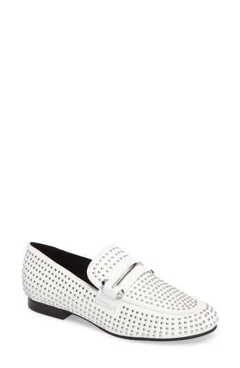 Steve Madden Kast Studded Loafer In White Faux Leather