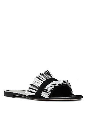 Diane Von Furstenberg Eilat Leather Slides In Black/ White