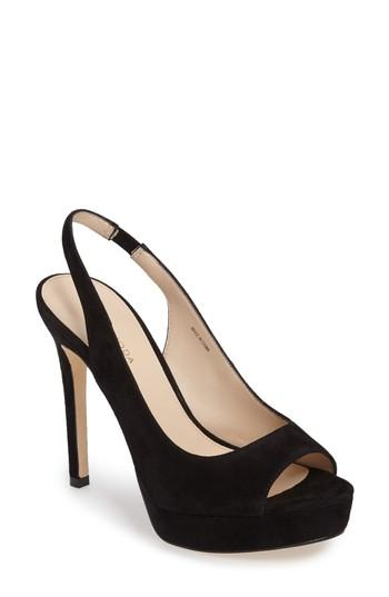 Pelle Moda Oana Slingback Platform Sandal In Black Leather