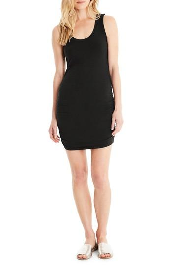 Michael Stars Ruched Side Tank Dress In Black