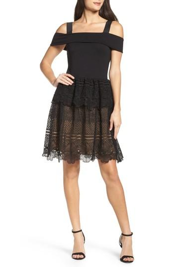 French Connection Amelia Lace A-line Dress In Black