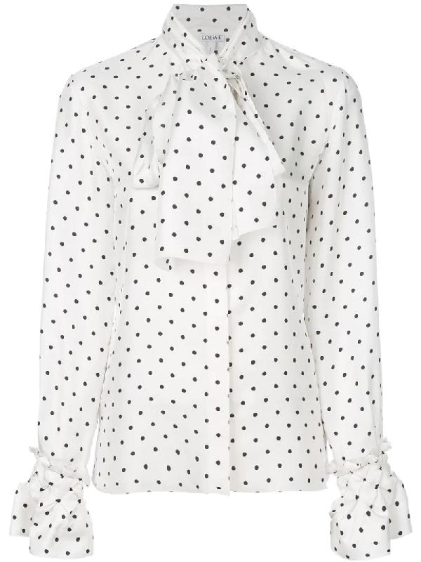 Loewe LavalliÈre-neck Polka-dot Print Silk Blouse In Geometric Print,white