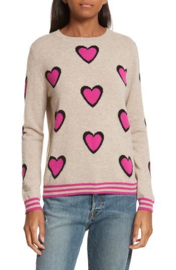 Chinti & Parker Heart Burst Cashmere Sweater In Oatmeal/ Black/ Fuchsia