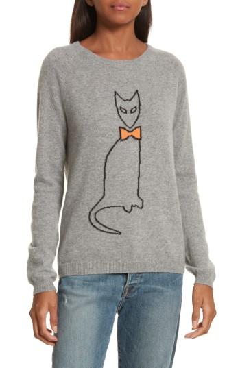 Chinti & Parker Cat Cashmere Sweater In Grey/ Black/ Mandarin