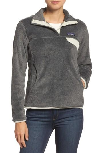 Patagonia Re-tool Snap-t Fleece Pullover In Feather Grey - Ink Black X-dye