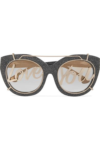 Alice And Olivia Walker Cat-eye Glittered Acetate And Gold-tone Sunglasses In Charcoal