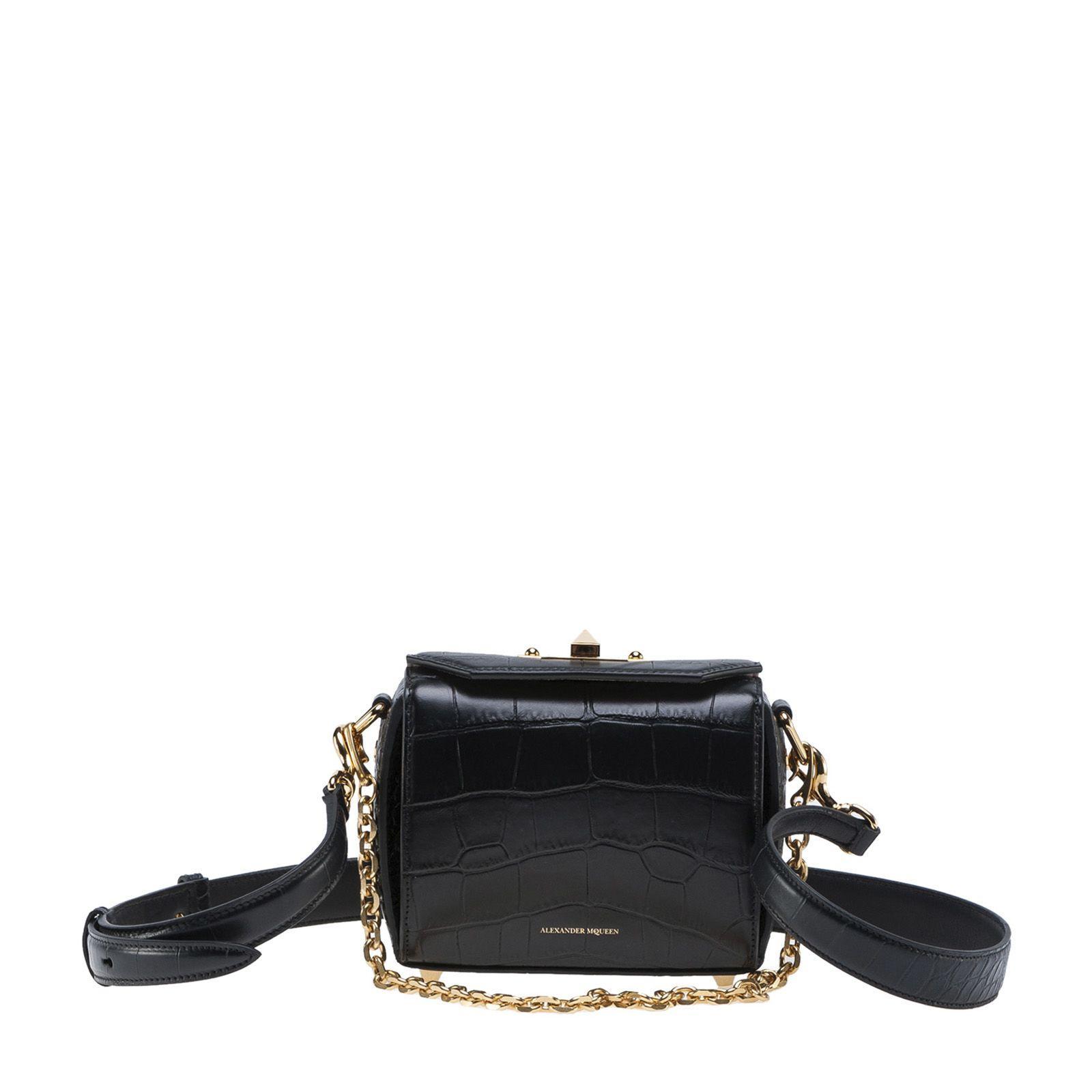 Alexander Mcqueen Crocodile Embossed Box Bag 16 In Black