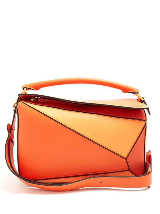 Loewe Puzzle Leather Bag In Orange Multi