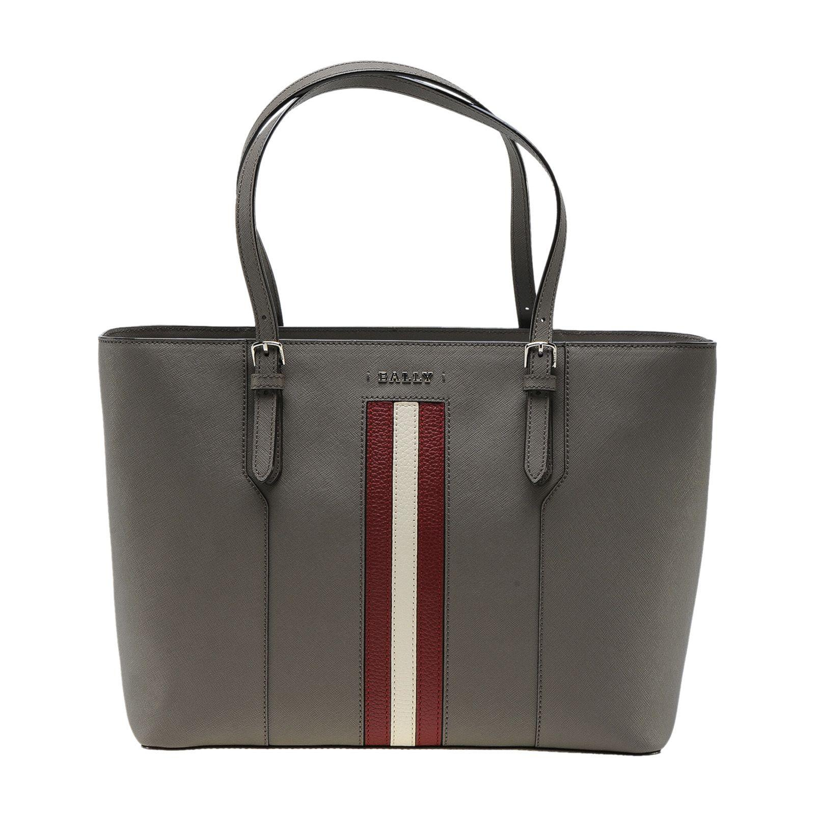 Bally Striped Trim Tote In Snuff