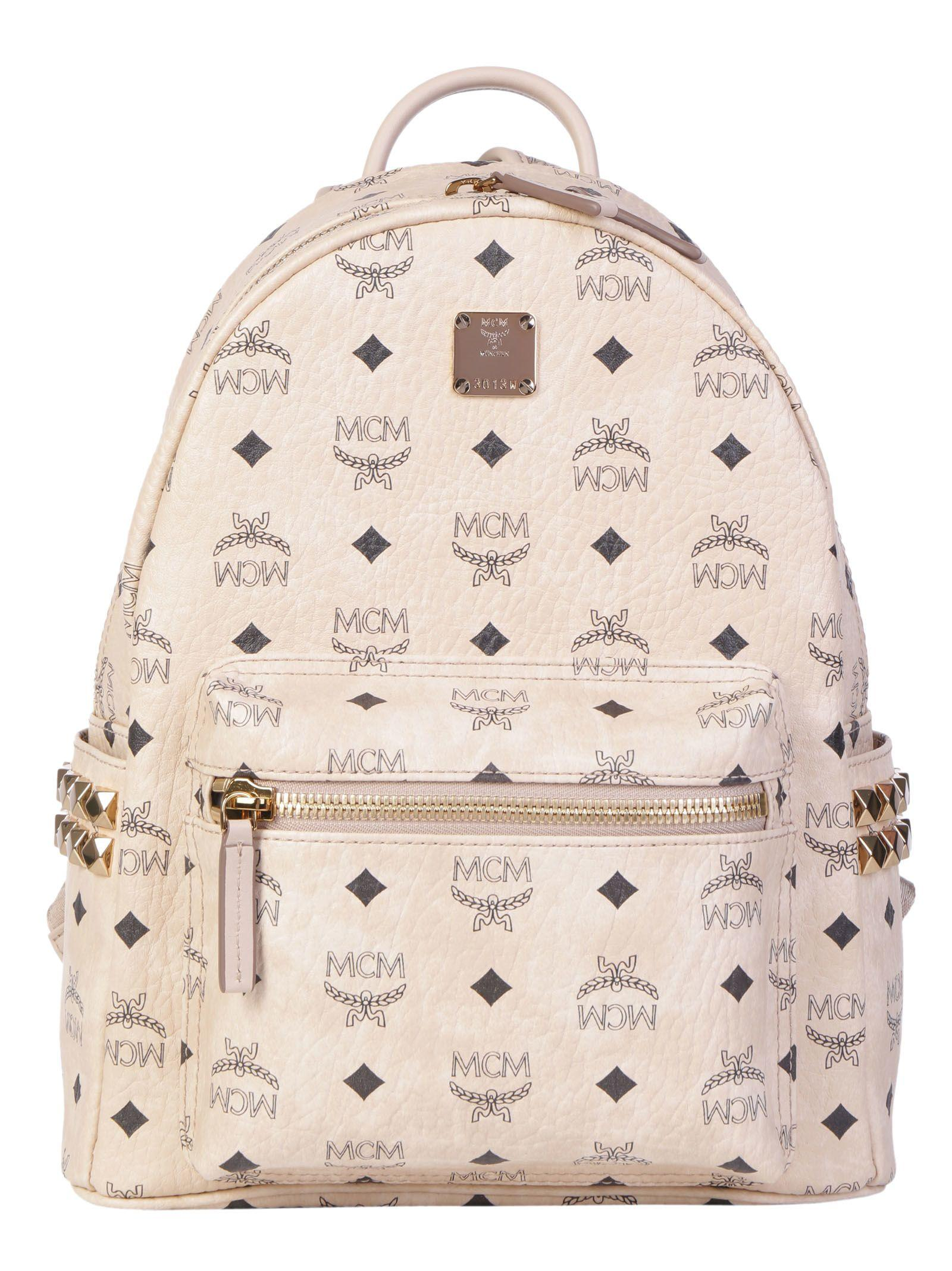 Mcm Start Backpack In Beige