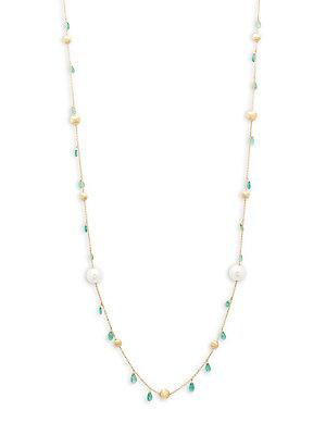 Marco Bicego Africa White Pearl, Emerald & 18k Gold Necklace