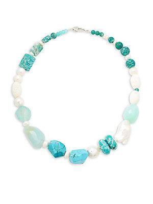 Stephen Dweck 7-11mm White Pearl, Turquoise And Sterling Silver Single Strand Necklace In Blue