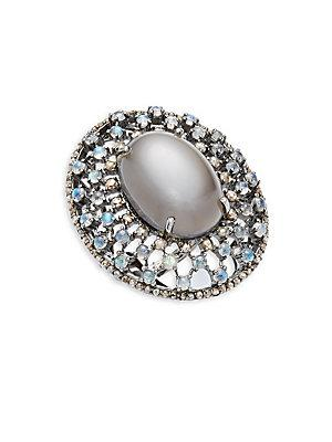 Bavna Moonstone, Rainbow Moonstone & Sterling Silver Statement Ring