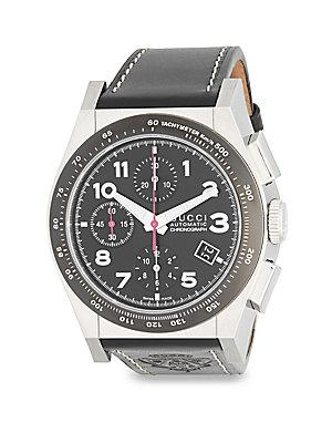 Gucci Stainless Steel Automatic Swiss Strap Watch In Black