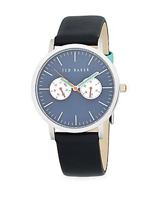 Ted Baker Stainless Steel And Leather Strap Watch In Black