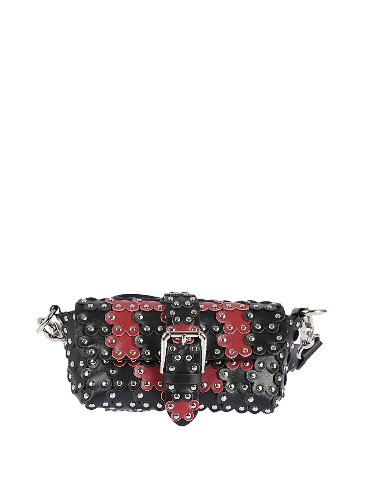 Red Valentino Studded Shoulder Bag In Nero-lacca