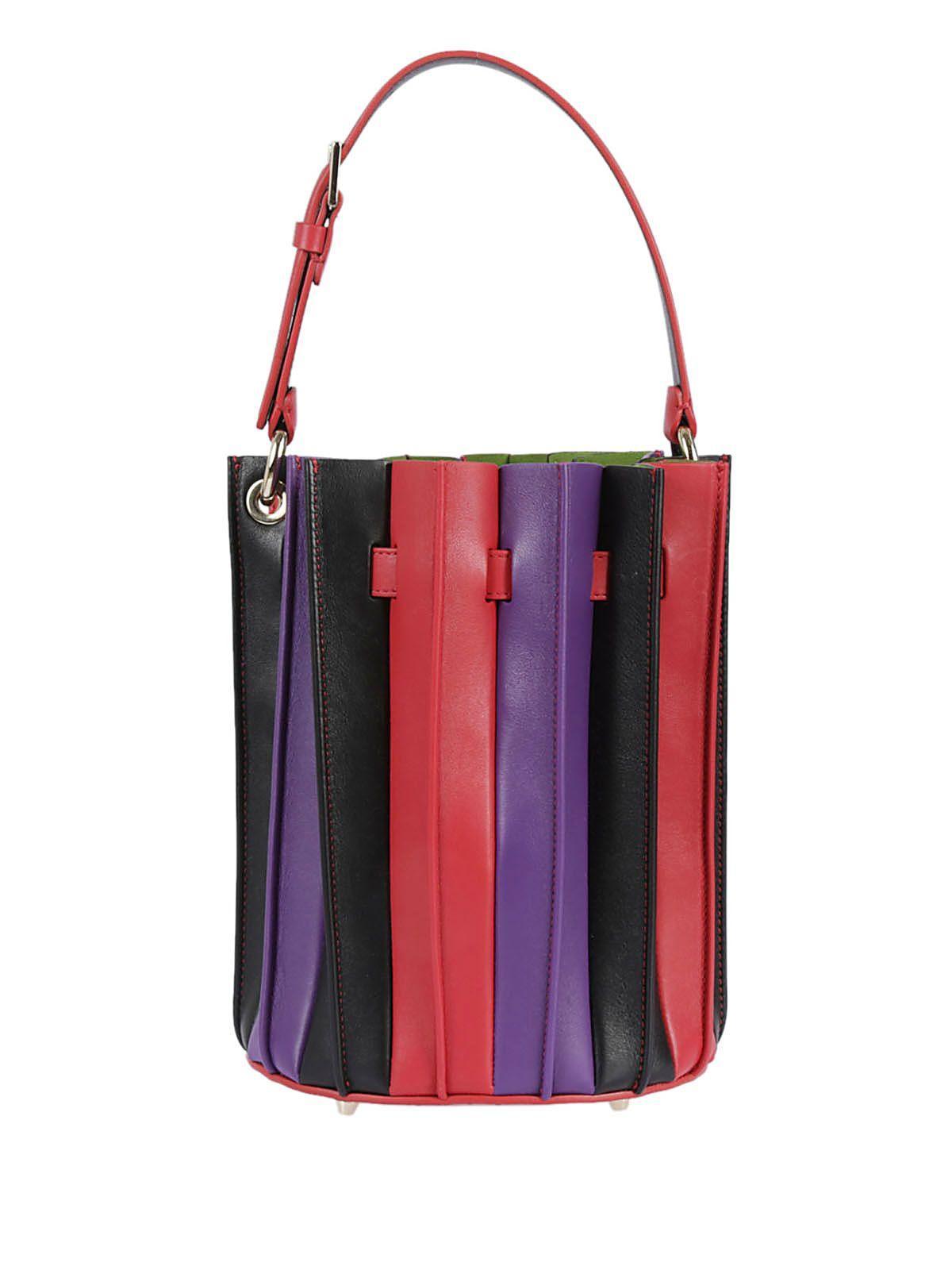 Sara Battaglia Fold Bucket Bag In Rosso-viola-nero