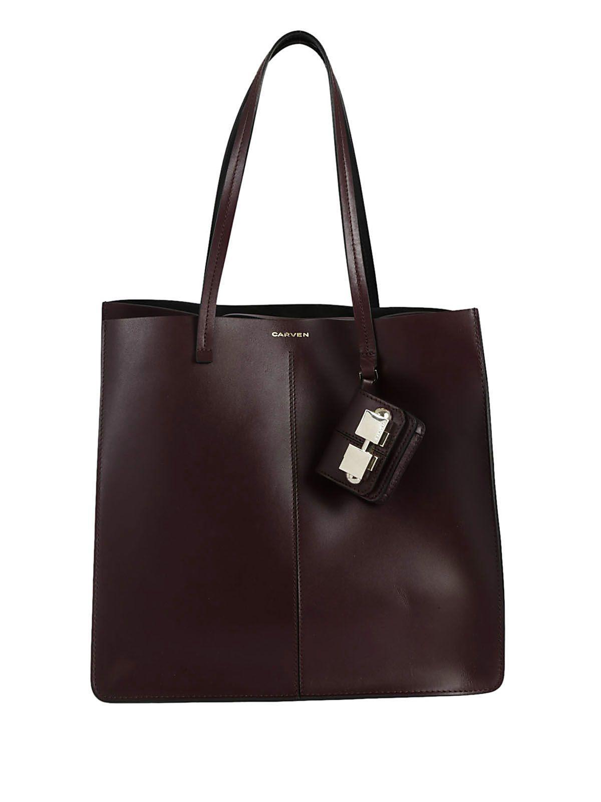 Carven Classic Shopper Bag In Bordeaux