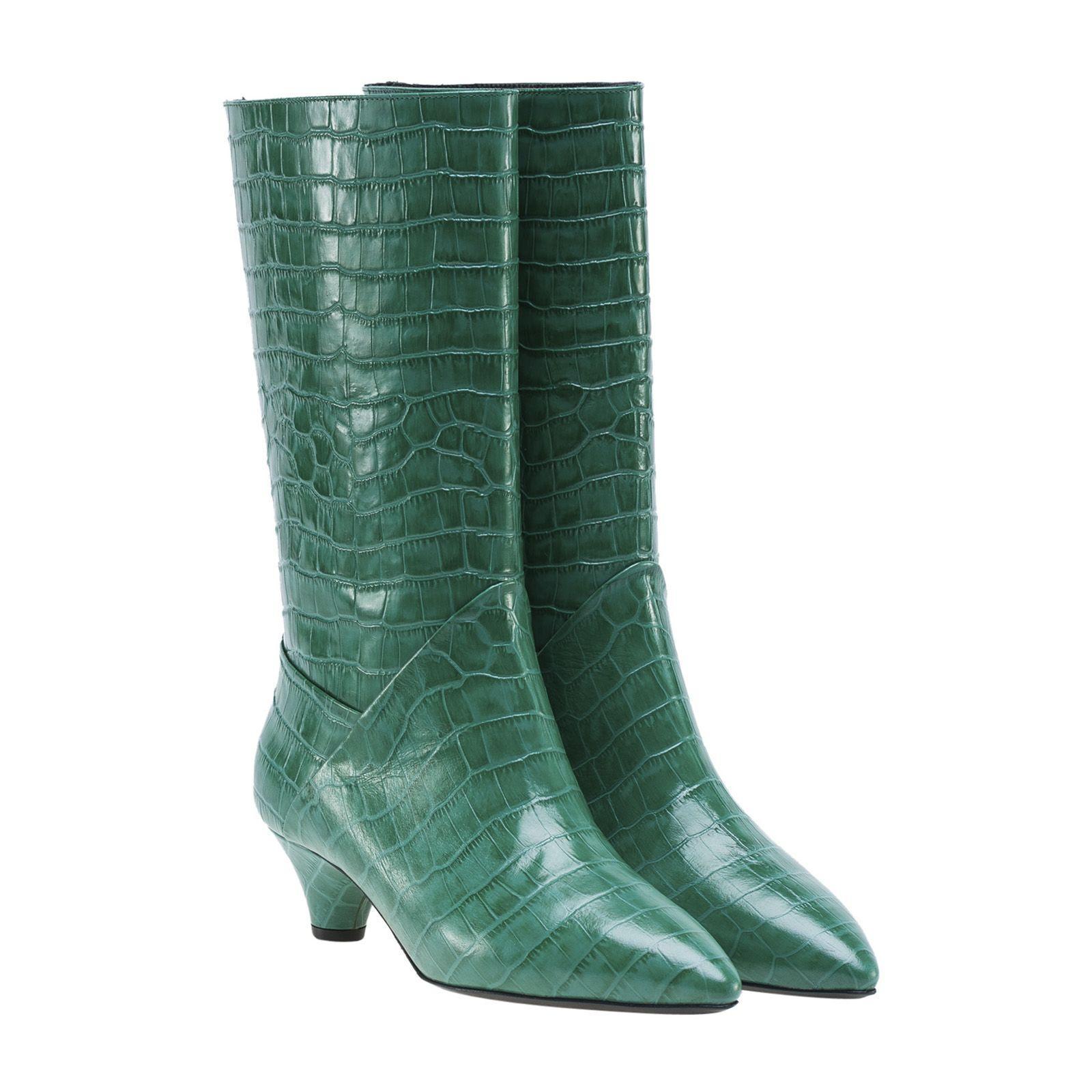 Marni Kitten Heel Boots In Green