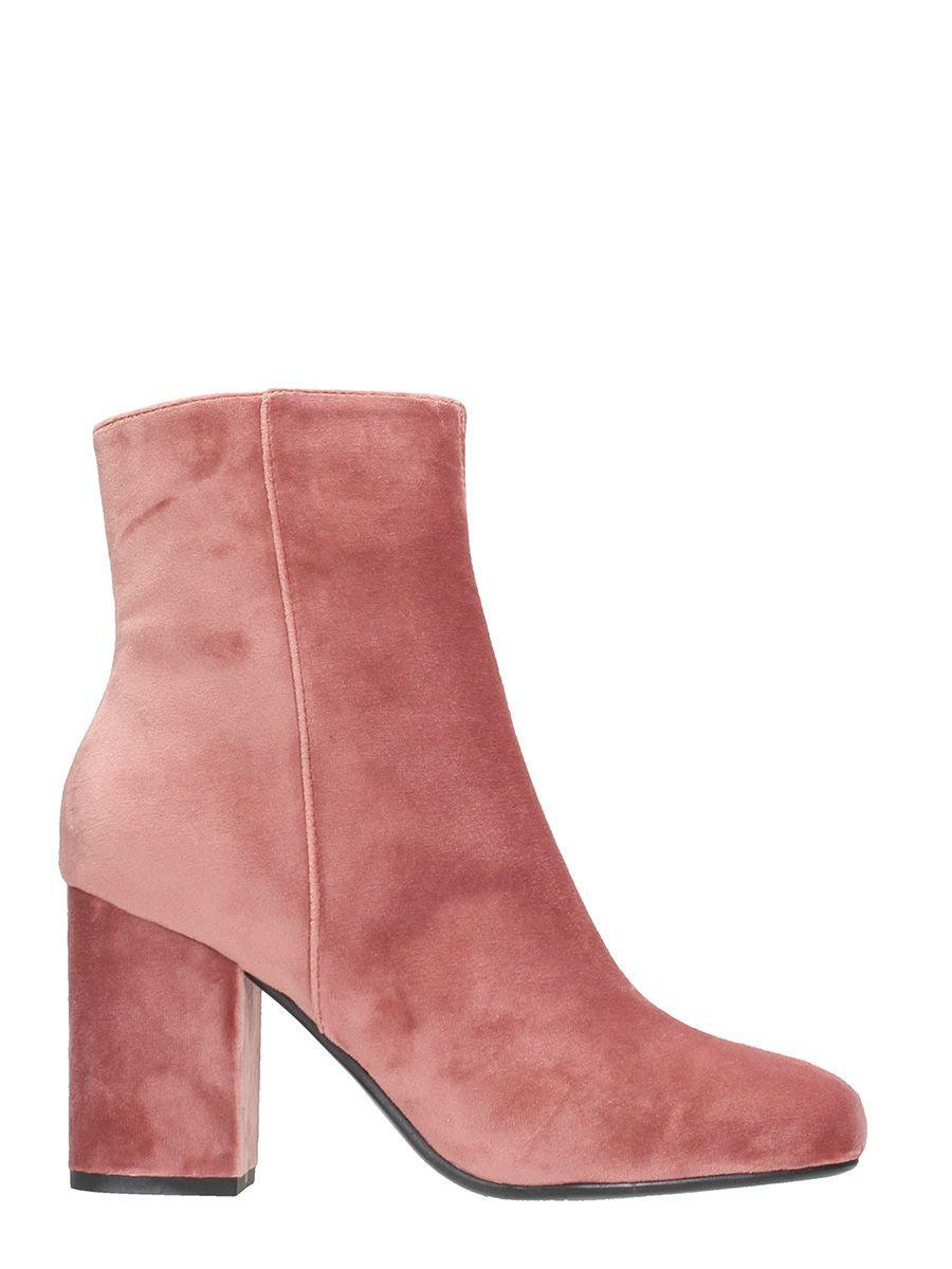 Lola Cruz Pink Velvet Boots In Rose-pink