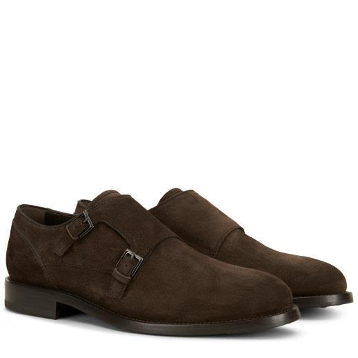 Tod's Suede Classic Monk Straps In Brown