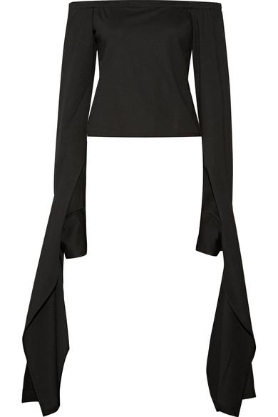 Sid Neigum Off-the-shoulder Draped Stretch-jersey Top In Black