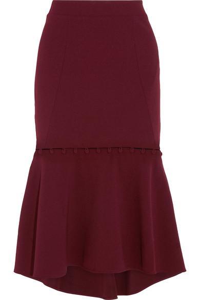 Rebecca Vallance Woman Cortona Convertible Fluted Crepe Skirt Burgundy