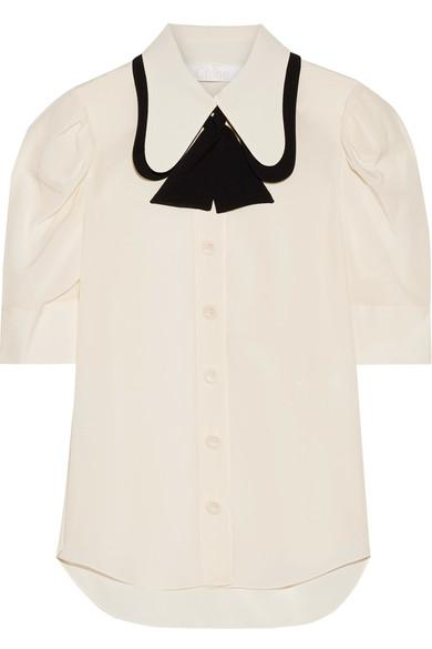 03ad6c6f051ee2 ChloÉ Two-Tone Silk Crepe De Chine Blouse In Ivory | ModeSens