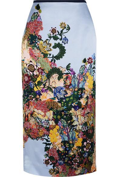 Erdem Maira Printed Silk-satin Skirt In Pink / Multi