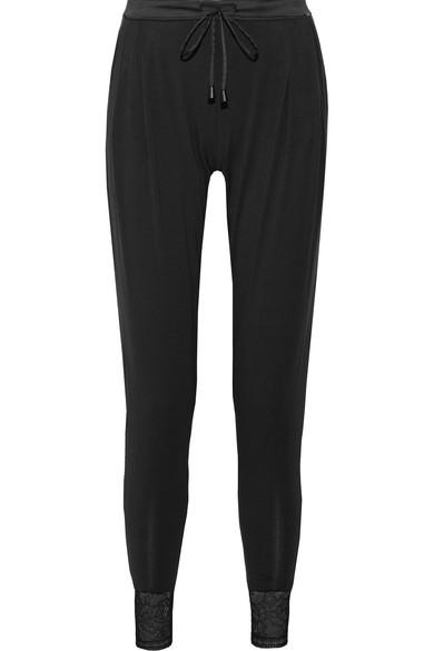 Calvin Klein Underwear Decadence Lace-trimmed Modal-blend Pajama Pants In Black