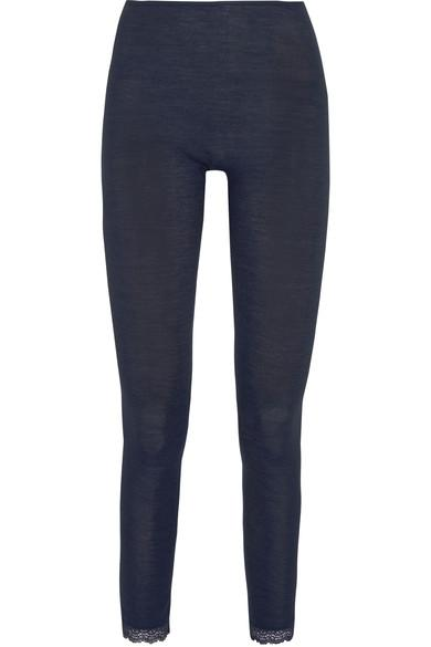 Hanro Leavers Lace-trimmed Ribbed Wool And Silk-blend Leggings In Storm Blue