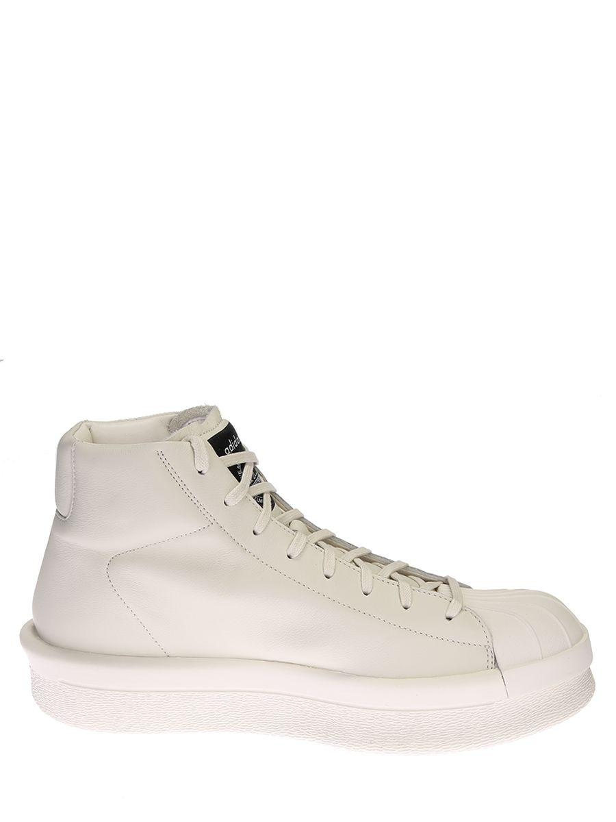 Rick Owens Leather High Top Sneakers In White