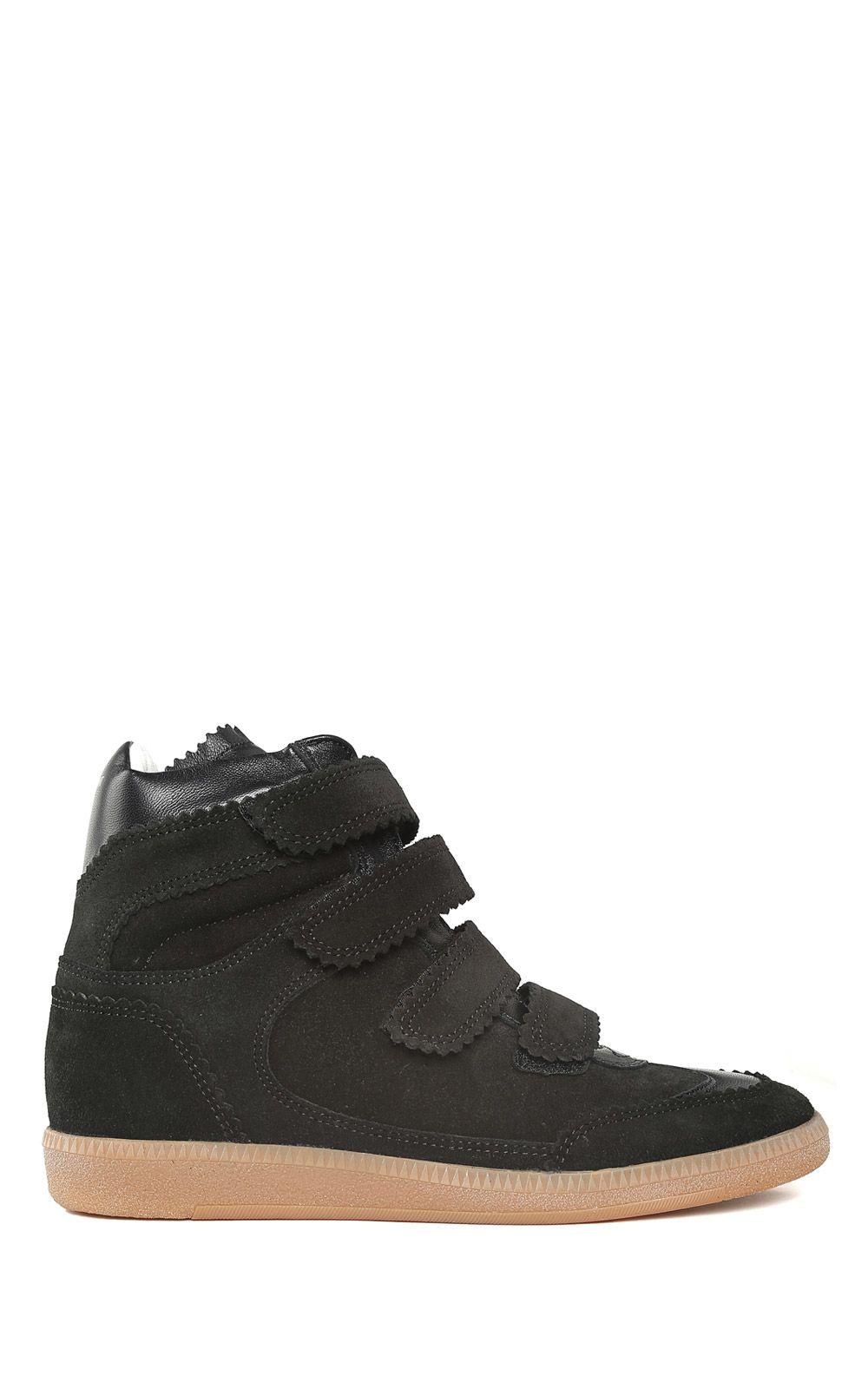 Isabel Marant Bilsy Concealed-wedge Leather And Suede Trainers In Nero