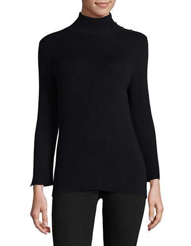 Ellen Tracy Sleeve Slit Mock Neck Sweater-night Sky