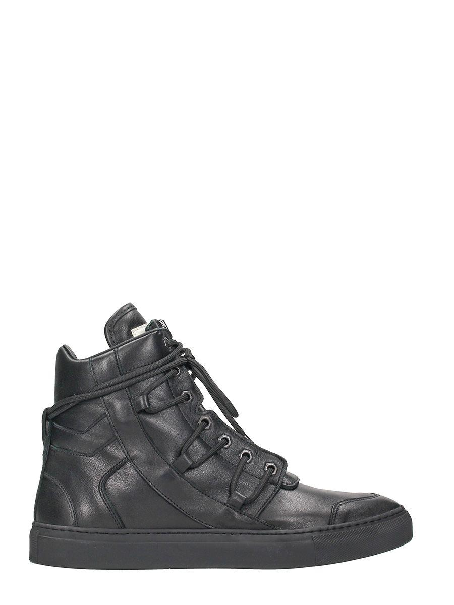 Helmut Lang High Top Black Leather Sneakers