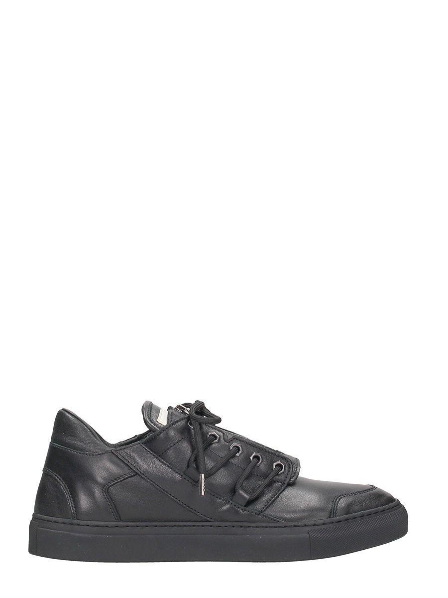 Helmut Lang Low Top Black Leather Sneakers