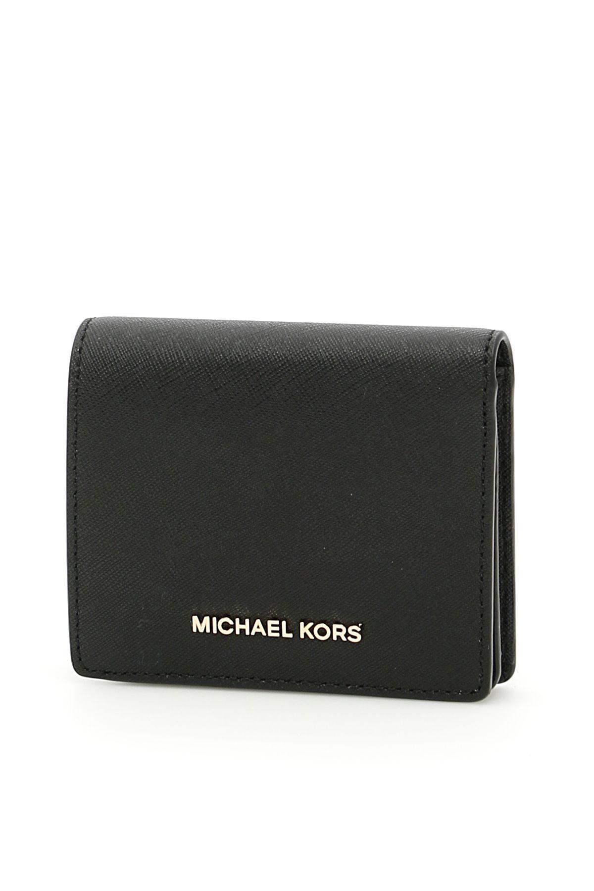 Michael Michael Kors Jet Set Travel Cardholder In Blacknero