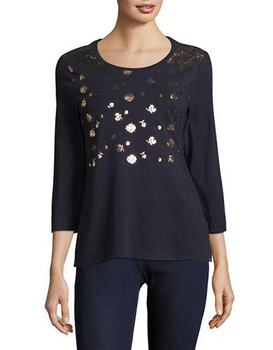 Tommy Hilfiger Three-quarter Sleeve Graphic Knit Top-blue