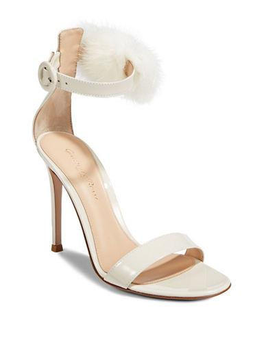 Gianvito Rossi Faux Fur Detail Ankle Strap Pumps-off White