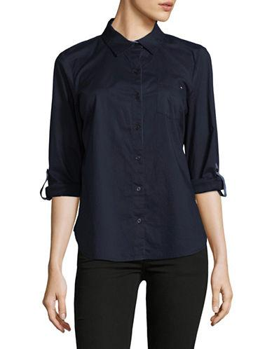 Tommy Hilfiger Roll-tab Sleeve Cotton Top-blue