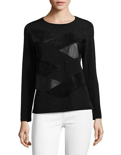 Calvin Klein Textured Velvet Top-black