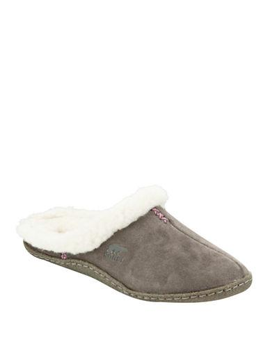 Sorel Nakiska Suede Slippers With Faux Fur-shale