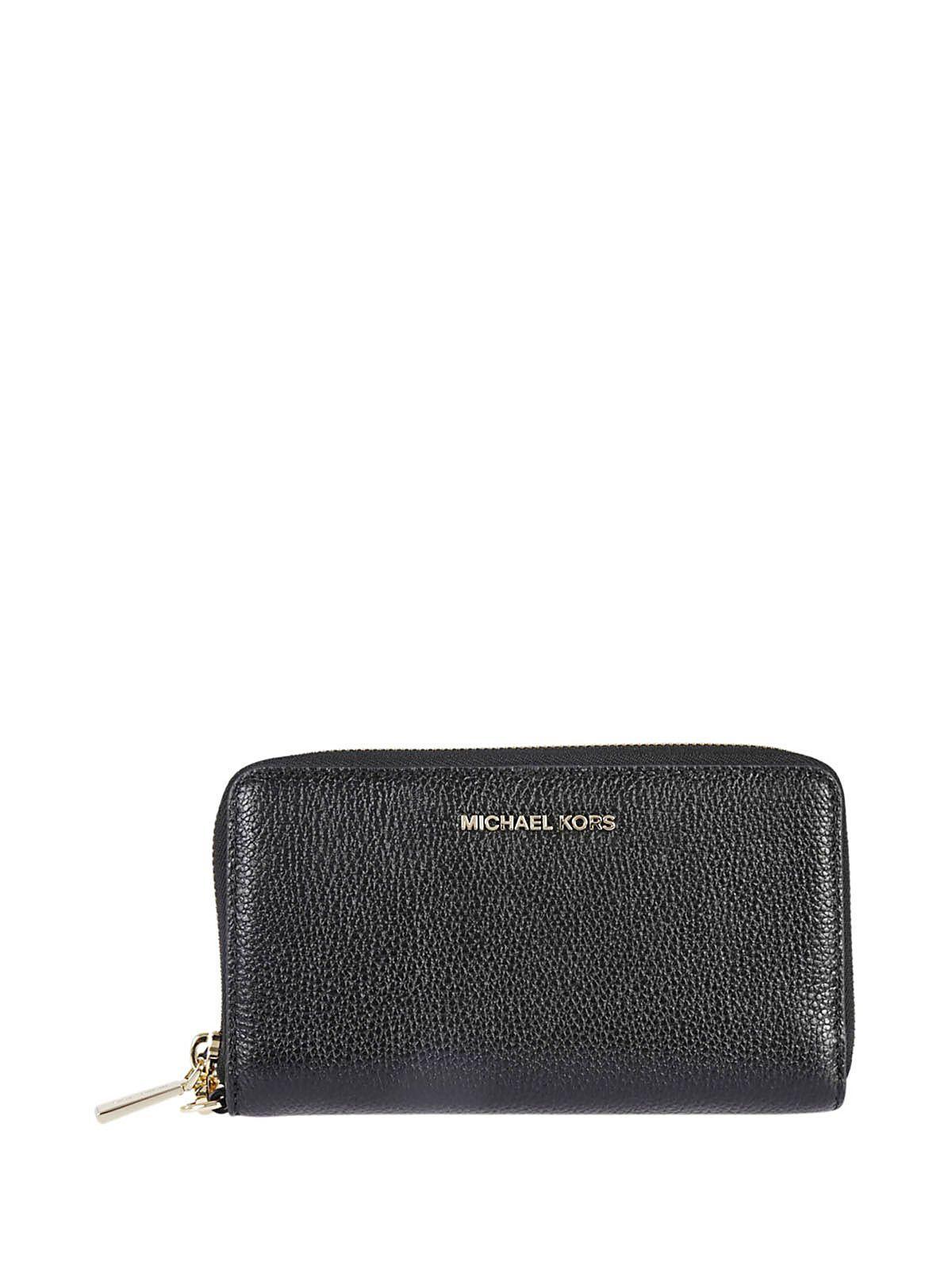 Michael Kors Mercer Smartphone Zip Around Wallet In Nero-oro