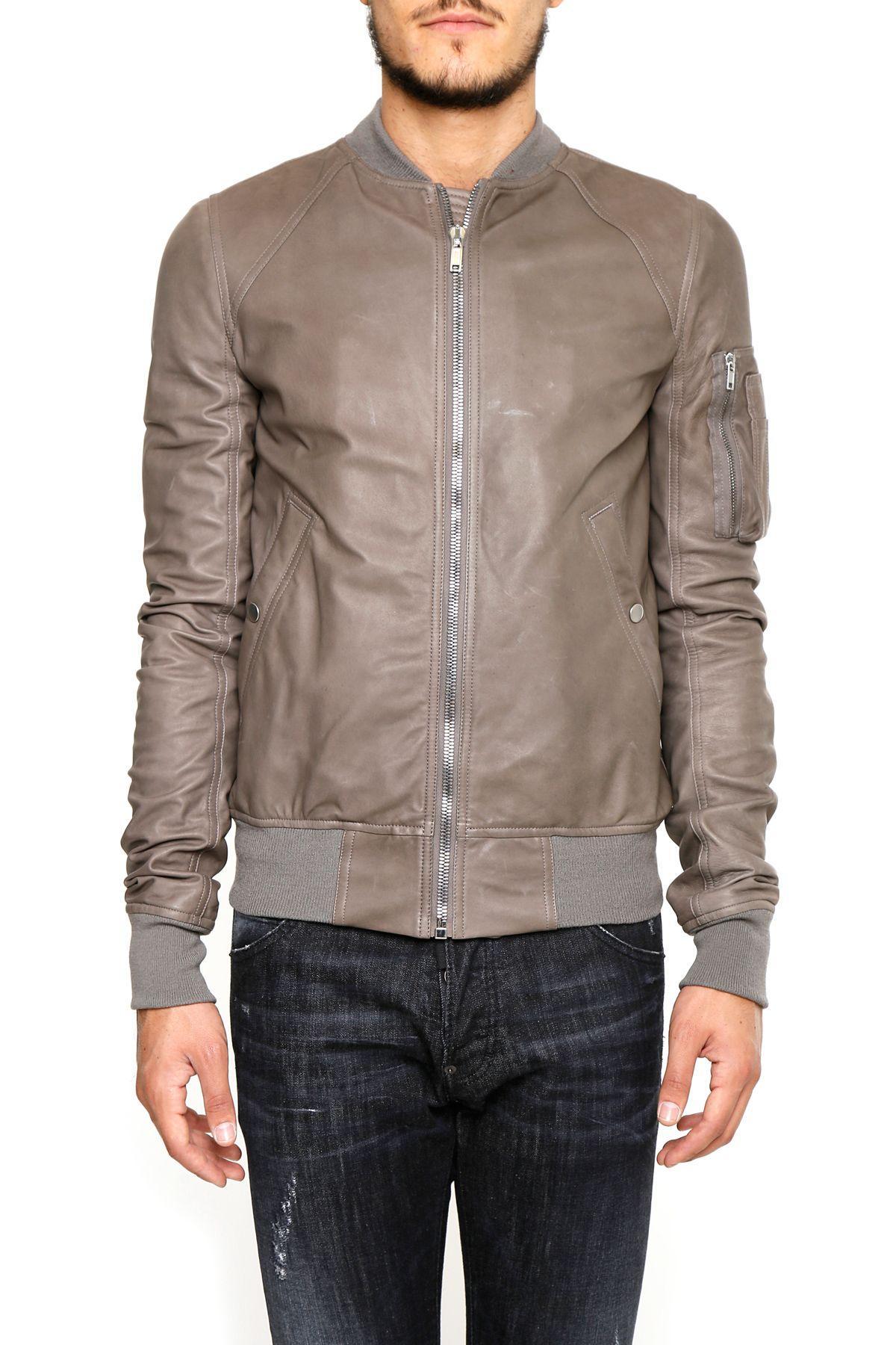 Rick Owens Lambskin Jacket In Dark Dust grigio