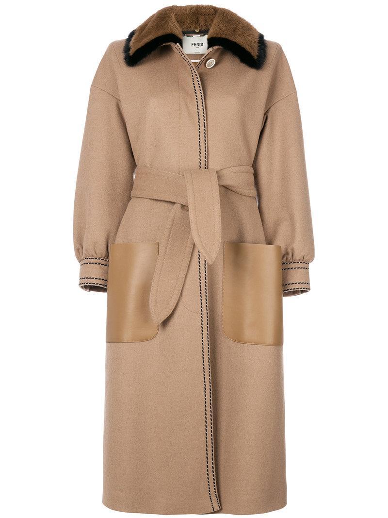Fendi Camel Coat With Mink Fur In F0csc