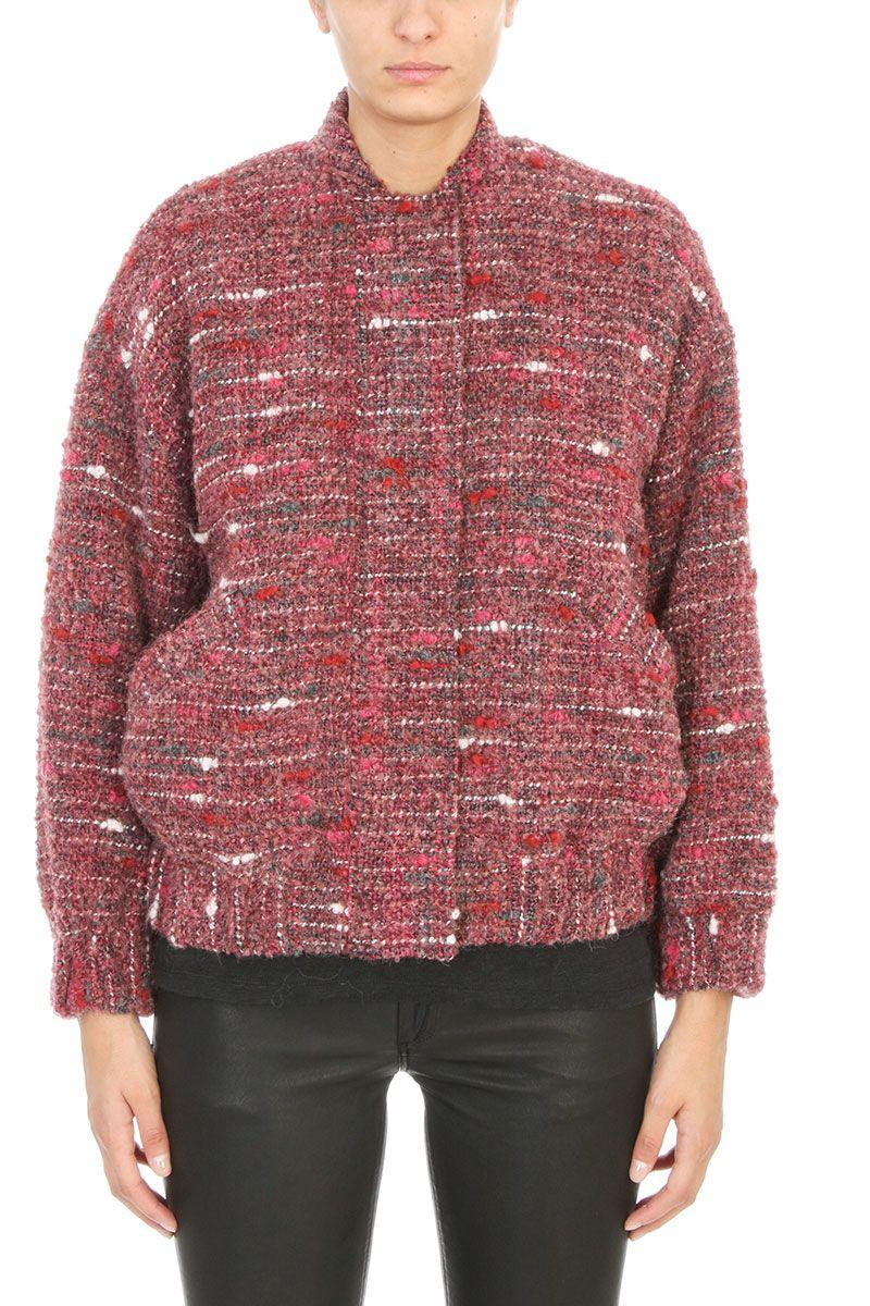 Iro Eddy Teddy Tweed Bomber Jacket In Rose-pink