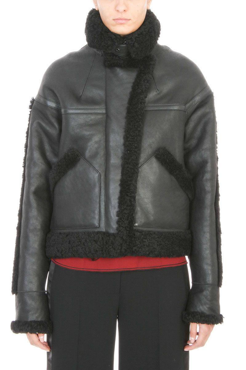 Victoria Beckham Oversized Black Shearling Leather Jacket