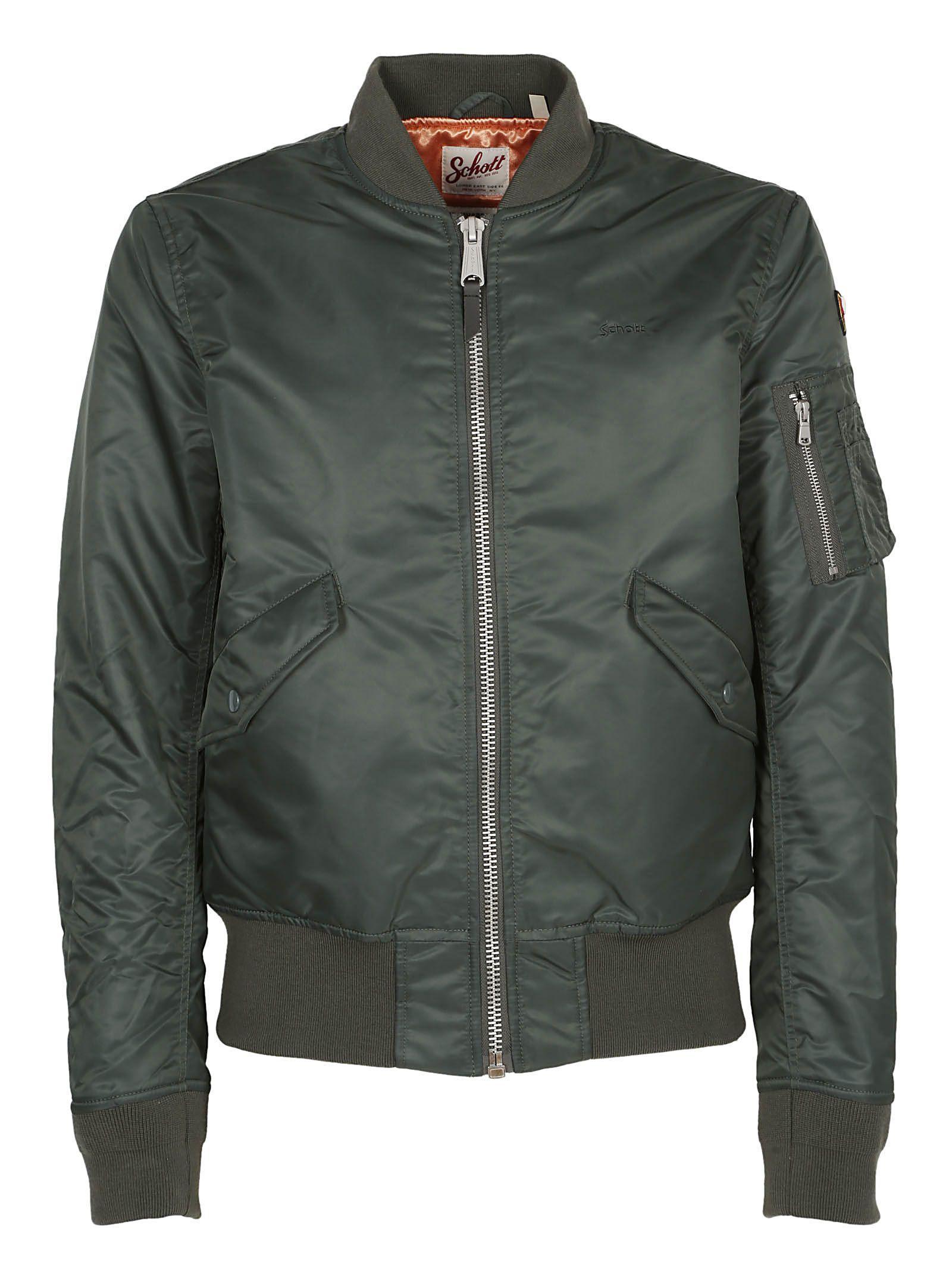 Schott College Bomber Jacket In Dark Green