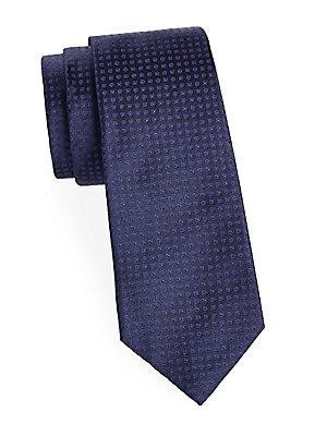 Kiton Geometric Silk Tie In Navy