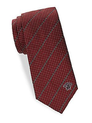 Versace Silk Dotted Tie In Red